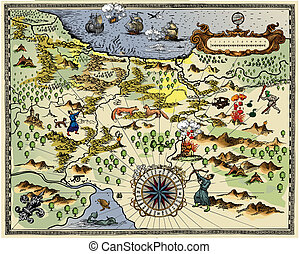 Antique Map - Vector illustration - antique map