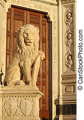 antique marble lion sculpture