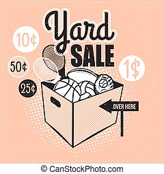 Antique market - Garage or Yard Sale with signs, box and...
