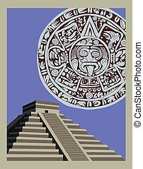 Antique Mayan Pyramid and Calendar