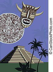 Antique Mayan Pyramid and Calendar