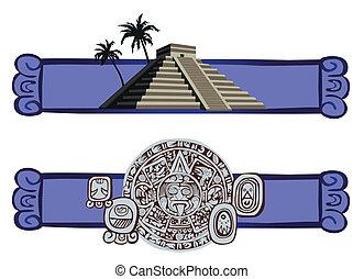 Antique Mayan Pyramid and Glyphs