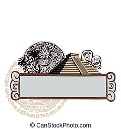 Antique Mayan Pyramid and Glyphs - Illustration with Mayan...