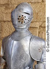 Antique medieval knight armor protection with helmet. Military defense