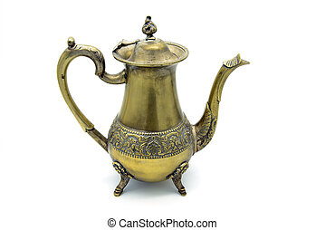antique metal coffee pot on white isolated background