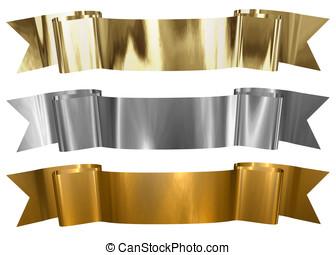 Antique Metallic banners - Various metallic frames in gold,...