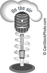 Antique microphone with music note
