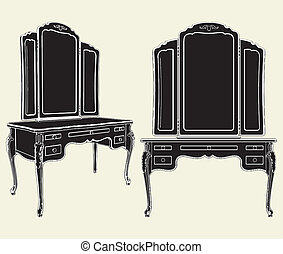 Antique Mirror Commode Vector