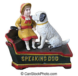A vintage Speaking Dog cast iron money box with clipping path