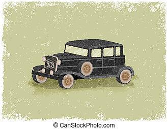 Antique motor car in vintage vector style