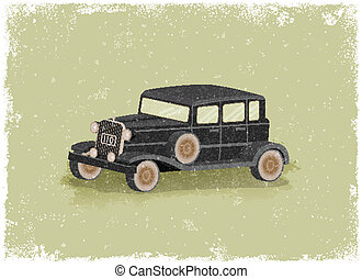 Antique motor car in vintage vector style