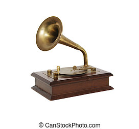 Antique music box made of wood and metal to look like a Grammaphone
