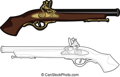 Antique Musket - These are vector graphics of an old antique...
