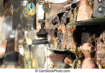 Antique Objects in Turkish Bazaar - Antique Ottoman objects...