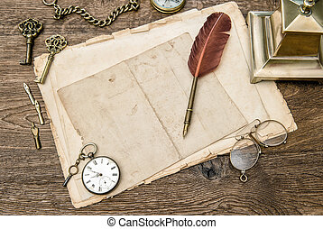 Antique office supplies and accessories, used paper, feather pen