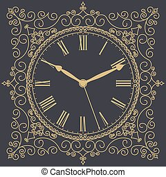 Antique old clock face. Vector