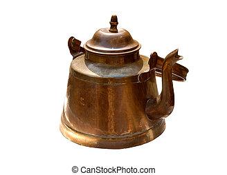 Antique old copper kettle isolated - Antique rustic retro...