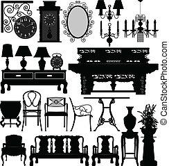 A set of antique old furniture for interior design.