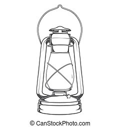 Antique Old Kerosene Lamp isolated on a white background....
