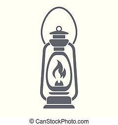 Antique Old Kerosene Lamp isolated. Retro design. Vector...