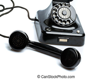 Antique, old retro phone. Fixed phone