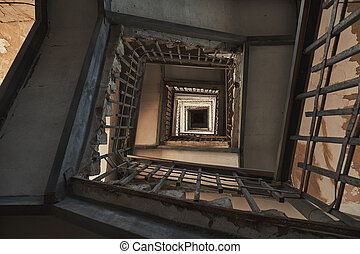 Antique old stairs in a building