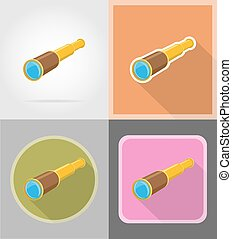 antique old telescope flat icons vector illustration
