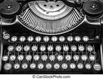 Antique old typewriter. - Close up photo of antique old...