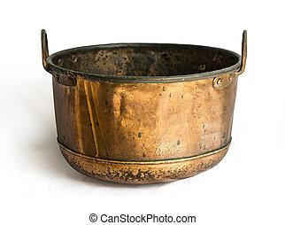 antique open brass pot