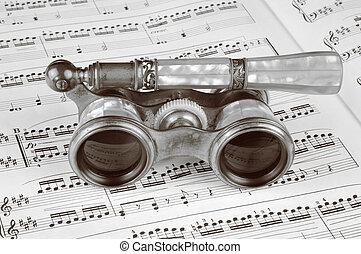 Antique Opera Glasses on a Music Score