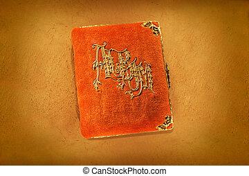 Antique Orange Photo Album - Antique orange photo album from...