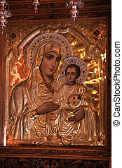 Antique orthodox Ierusalem icon Virgin Mary and Holy child with gold riza and wood frame