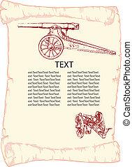 Antique parchment - Antique Parchment with antique guns. ...