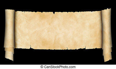 Antique parchment scroll on black background.