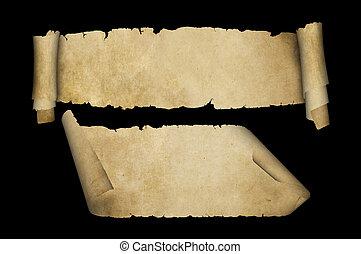 Antique parchment scrolls on black background.