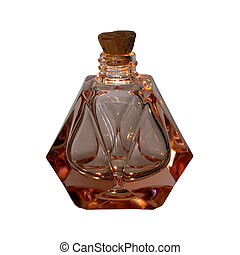 Antique glass perfume bottle with cork, isolated on white background.