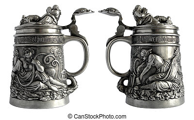 Antique pewter beer tankard