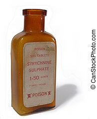 antique pharmacy bottle of strychnine poison