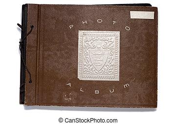 Antique Photo Album - An old fashion photo album on a white...