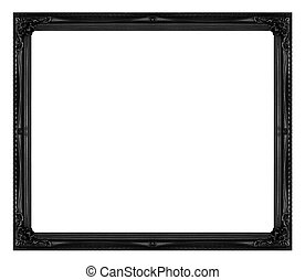 Antique picture black frame isolated on white background