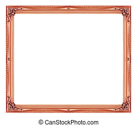 Antique picture brown frame isolated on white background