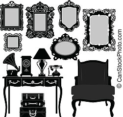 A set of antique picture frame and other retro objects.