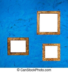 picture frames on the blue background