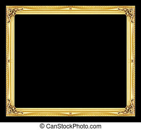 Antique picture golden frame isolated on black background
