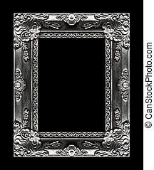 Antique picture gray frame isolated on black background, clipping path