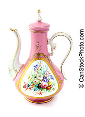 antique pink coffee pot made of porcelain in biedermeier times.
