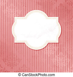 Antique pink wedding label - Grungy, intricate pink and...