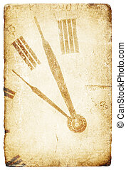Antique pocket clock face. Grunge isolated background.