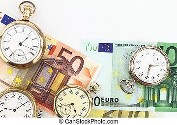 Antique pocket clocks and money