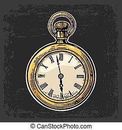 Antique pocket watch. Vector vintage color engraved illustration.